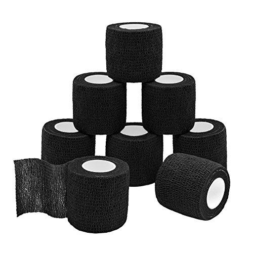 QiGui 8 Rollen Selbsthaftende Cohesive Bandage Haftbandage Verband Fixierverband elastische Binde Pflasterverband Für Finger, Hand, Zehen Und Füße 5cm X 4.5m (Schwarz)