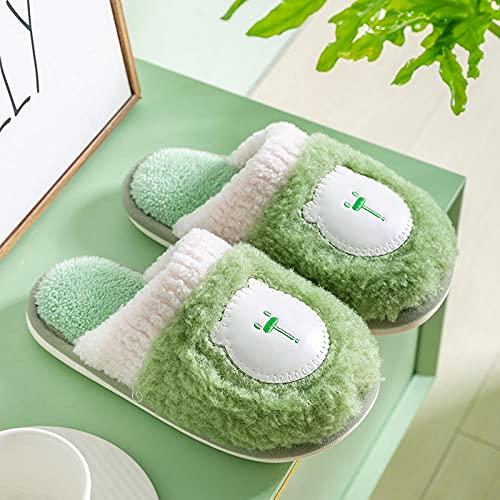 Kirin-1 Pantuflas Hombre Verano,Zapatillas de algodón de Peluche otoño e Invierno Interior Suave Inferior Antideslizante-Verde_35-36