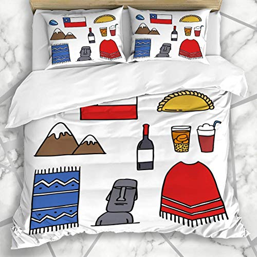 Jojun Duvet Cover Sets Moai Drink Doodle Chile Chilean America International Country Patagonia South Wine Design Microfiber Bedding with 2 Pillow Shams Easy Care Anti-Allergic Soft Smooth