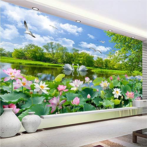 Mddj fotobehang in Chinese stijl 3D Lago Dei Cigni Lotus Pond Murale woonkamer tv sofa achtergrond muurkleur papel De Parede 3D Sala Art familie kinderen open haard 120 x 100 cm.
