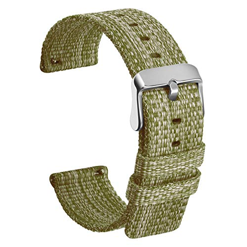 ULLCHRO Unisex Nylon Armband mit Edelstahl Silberne Schnalle (20mm, Grün)