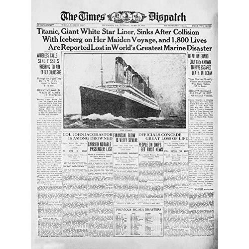Krant Voorblad Pagina Titanic ramp 1912 keer ingelijst muur Art Print