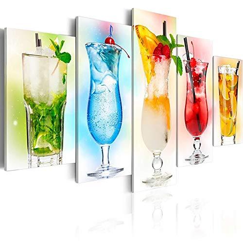 zzlfn3lv Impresiones de la Lona Pintura Arte de la Pared 5 Piezas Cartel de Bebida fría Imagen de decoración del hogar Modular para Sala de Estar Sin Marco