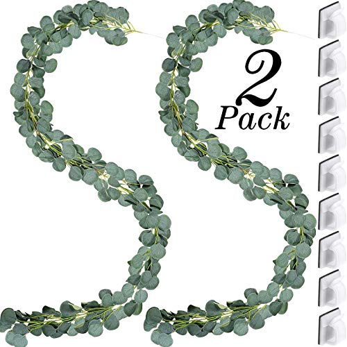 Blulu 2 Strands 6.6 ft Artificial Eucalyptus Garland Silk Faux Eucalyptus Greenery Garland for Wedding Arch Table Centerpiece with 20 Pieces Adhesive Tapes Mini Outdoor Cable Clips