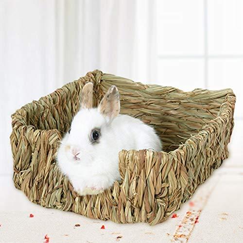FeiyanfyQ Käfig für Kleintiere, Kaninchen, Hamster, Meerschweinchen, Nisthaus, Kauspielzeug, Bett, Holz, Braun