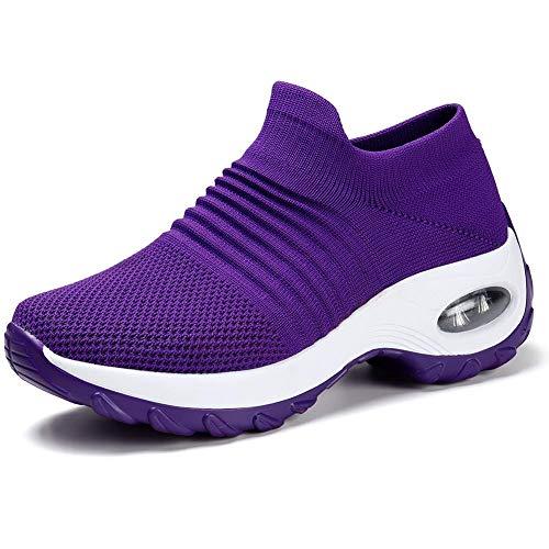 HKR Laufschuhe Leichte Sneaker Slip on Sportschuhe für Damen Violett/39 EU