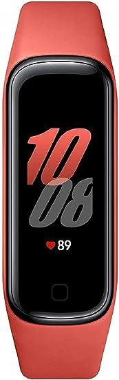 SAMSUNG Galaxy Fit2 Rojo con acelerómetro, giroscopio, Monitor de frecuencia cardíaca, Monitor de Entrenamiento, Pantalla AMOLED de 1,1
