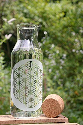 Freiglas 1,0l Karaffe mit der Blume des Lebens und Korkverschluß Wasserkrug, Lebensblume, Gravur
