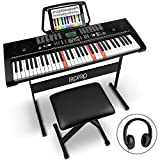 61-Key Portable Electronic Keyboard Piano for Beginners with Lighting Keys,Interactive Teaching System,3 Teaching