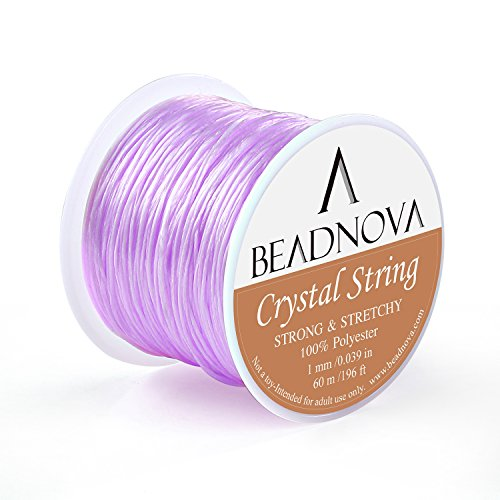 BEADNOVA 1mm Elastic Stretch Polyester Crystal String Cord for Jewelry Making Bracelet Beading Thread 60m/roll (Lavender)