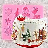 GJEFEGS Navidad Fondant Molde de Silicona Molde de decoración de Pasteles Molde de Chocolate