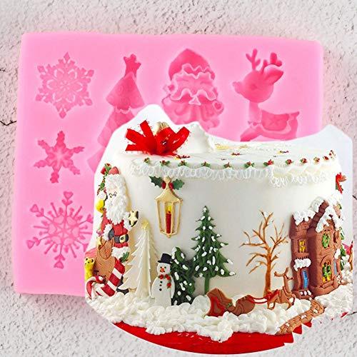 JLZK Serie De Navidad Árbol Ciervo Campana Copo De NieveFondant Molde De Silicona Decoración De Pasteles Molde De Chocolate para Hornear