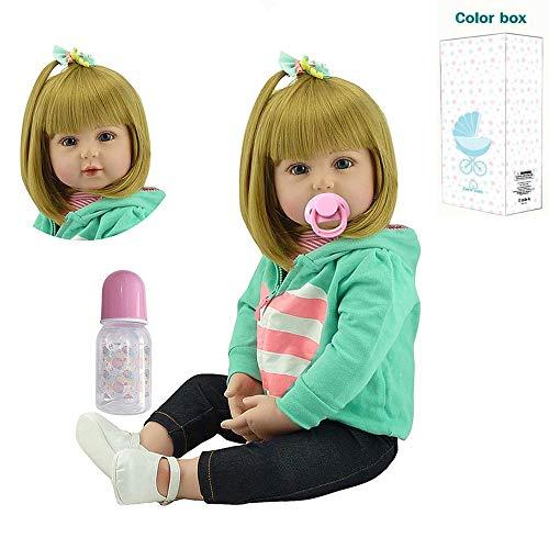 Zero Pam Reborn Toddlers Girls Blond Hair Soft 3-6 Month Reborn Baby Dolls 24 Inch Toddler Size Lifelike Dolls Xmas Gifts for Girls