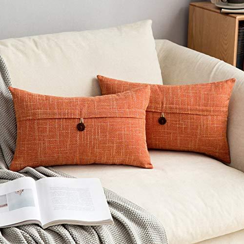 MIULEE Confezione da 2 Federe per Cuscini Copricuscini in Lino Incrociato Fodere Decorativi Bottone per Casa Divano 30X50cm Arancio