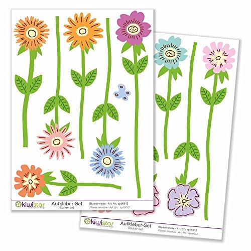 Kiwistar Blumenwiese anlegen, 12 Blumen, Gesamtgröße , Wandsticker Set Bogen Aufkleber farbig DIN A4
