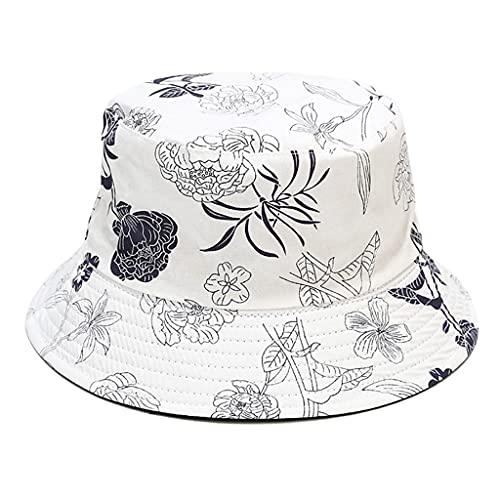 Sombrero de pescador de doble cara, patrón de peonía Guangruiorrty de doble cara para mujer, sombrero de pescador informal para protección solar de verano