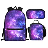 Showudesigns Student Bookbags Middle School Bag Set Galaxy Space Backpack for Teenager Girls Boys Book Bag Set with Lunch Box Pencil Case Lightweight Rucksack Kids