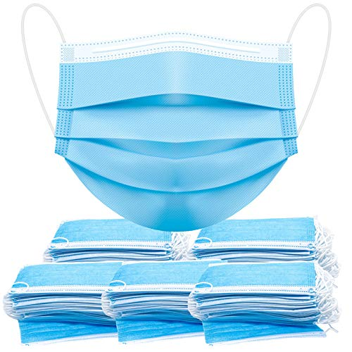 Face Masks Disposable Face Mask Disposable Masks, 250 Pcs facemask blue for adult home office man woman