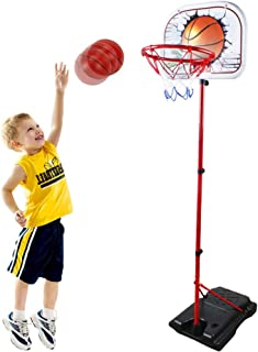 WISHTIME Mini Kids Basketball Hoop Toy - Height Adjustable Portable Toddler Basketball System with Sturdy Base, Ball and Pump for Kids, Toddlers Indoor and Outdoor