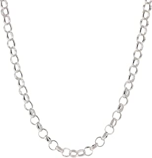 925 Sterling Silver Chain - Nickel Free 3.2mm Rolo Round Cable Link | Made in Italy | Multiple Sizes