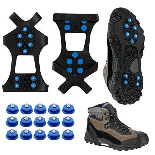 MMTX Schuhspikes, Spikes für Schuhe Winter, Schuhkrallen Steigeisen Ice Klampen Schnee Spikes mit 15er-Pack Ersatz-Schneespikes für Damen, Herren und Kinder (L-Large)