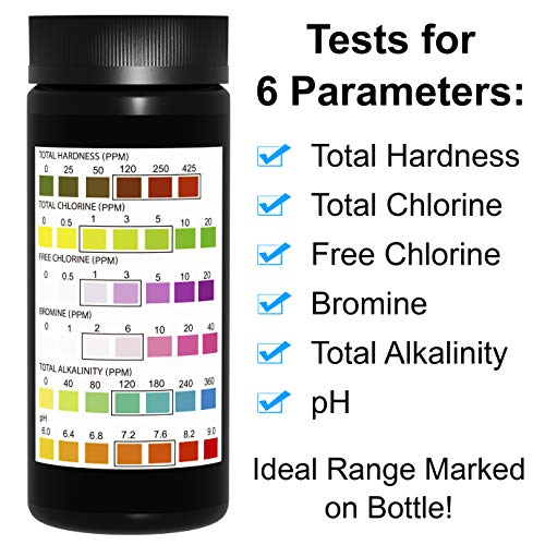 JNW Direct Pool and Spa Test Strips - 100 Strip Pack, Test pH, Chlorine, Bromine, Hardness and More, Accurate 6-in-1 Swimming Pool Water Testing, Free App