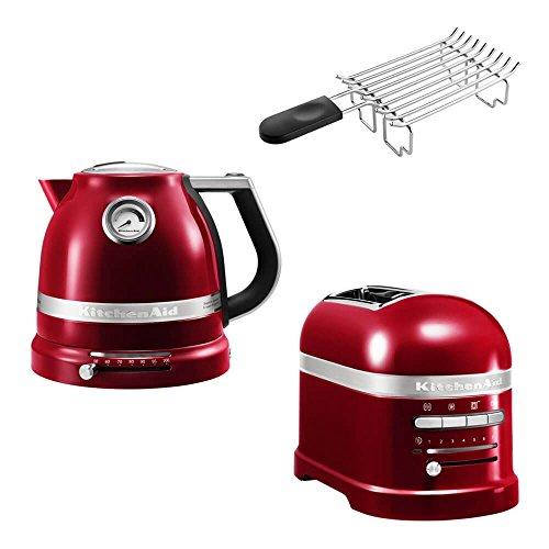 KitchenAid Artisan Frühstücks Set | incl. Wasserkocher 5KEK1522, 2 Scheiben Toaster 5KMT2204 und Brötchenaufsatz | für einen perfekten Start in den Tag! (Liebesapfel Rot)
