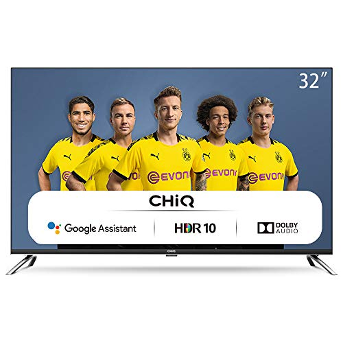 CHiQ Televisor Smart TV LED 32 Pulgadas, HD, HDR10/HLG, Android 9.0, WiFi, Bluetooth, Google Assistant, Netflix, Prime Video...