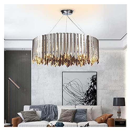 VIWIV Lámpara de Techo Lámpara geométrica Simple de Cristal, lámpara de Dormitorio de Lujo de Acero Inoxidable, lámpara LED, Cromo, 80 * 28 CM