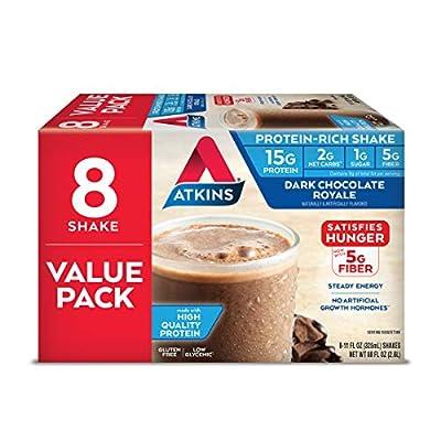 Atkins Gluten Free Protein-Rich Shake, Dark Chocolate Royale, Keto-Friendly, 8 Count