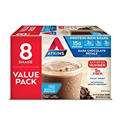 One box of 8 Dark Chocolate Royale Protein-Rich Shakes Rich, dark chocolate flavor 15 grams of high quality protein and 5 grams of fiber per serving 2 grams of net carbs and 1 gram of sugar per serving Shelf stable - no need to refrigerate Keto frien...