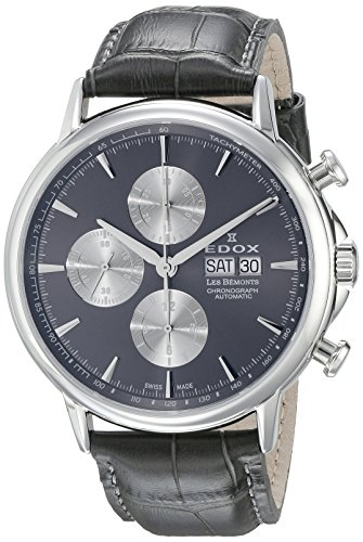 Edox Men's Les Bemonts 44mm Black Leather Band Automatic Watch 01120 3 GIN