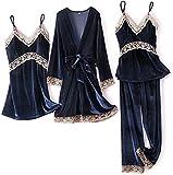Pijamas para Mujer Set de 4 Piezas Pijamas Velvet Inicio Use Soft Womed Sleepwear (Color : Navy, Size : M)