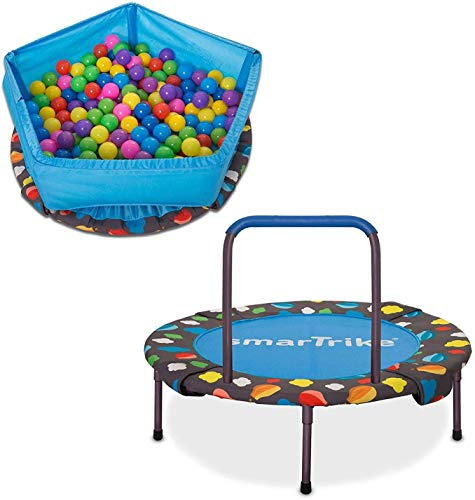 smarTrike 9200000 Indoor Toddler Trampoline with Handle, Ball Pit with 100 Balls Included, Foldable...