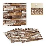 Relaxdays Paneles de Pared (10 Unidades, autoadhesivos, recortables, 3D, imitación de Madera,...