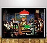 REDWPQ Cartel de Arte Perros Jugando al póker Carteles e Impresiones de Estilo Divertido Cuadro de Pared Lienzo Pintura Sala Decoración del hogar 45 * 60 cm sin Marco