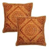 Stylo Culture Espejo Indio Bordado cojín de algodón Fundas de Cojines étnicos 16x16 Cojines Abstractos