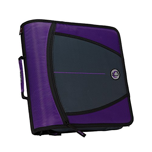 Case-it The Mighty Zip Tab Zipper Binder - 3 Inch O-Rings - 5 Pocket Expanding File Folder - 600 Sheet Capacity – Purple