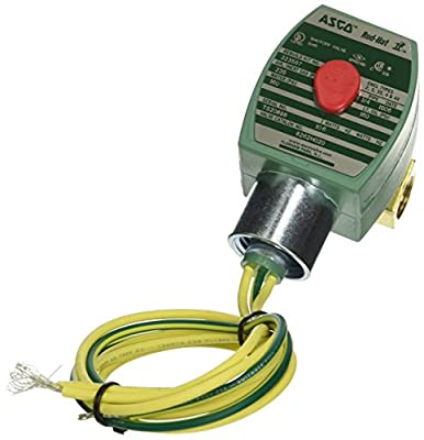 """ASCO 8262H020-12/DC Brass Body Direct Acting General Service Solenoid Valve, 1/4"""" Pipe Size, 2-Way Normally Closed, Nitrile Butylene Sealing, 3/32"""" Orifice, 0.21 Cv Flow, 12V/DC by ASCO Valve Inc."""