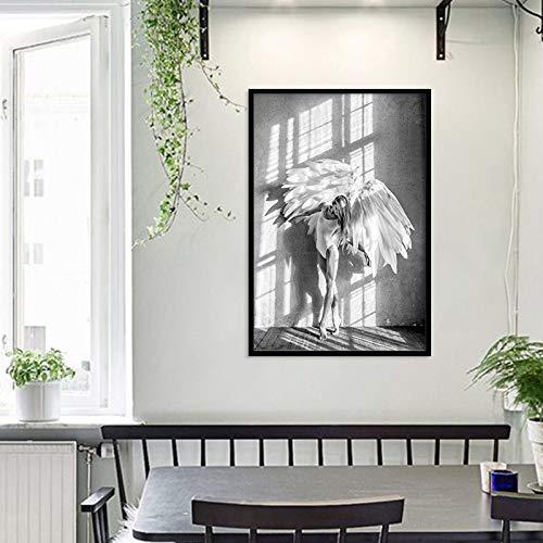 Angel Wings Wandposter und Drucke Schwarz-Weiß-Wandkunst Leinwandbilder Wings Girl Art Wandbild für Wohnkultur (ohne Rahmen) 30x40CM