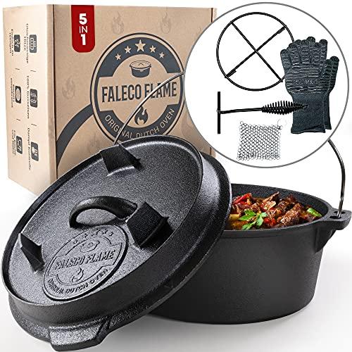Faleco Flame® Original Dutch Oven I Feuertopf Gusseisen I bereits eingebrannt I mit Untersetzer und Deckelheber…