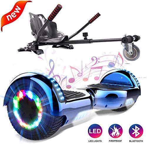 GeekMe Hoverboard mit Sitz, Elektroroller + Hoverkart, Elektro Scooter + Go-Kart mit Bluetooth-Lautsprecher LED-Leuchten, Geschenk für Kinder Jugendliche Erwachsene (Blau+Kohlenschwarz)