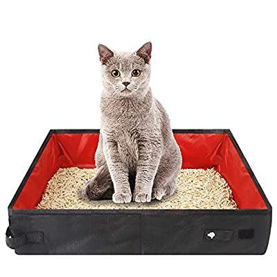 Foldable Cat Litter Box, 40*11*30cm/15.74*4.33*11.8in Travel Cat Litter Box, Portable Cat Toilet, Waterproof Oxford Cloth Cat Litter Box, for Travel, Outdoor, Park (Red)