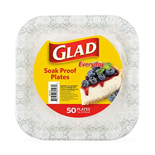 Glad Square Disposable Paper Plates with Gray Victorian Print Soak Proof, Cut-Proof, Microwaveable Heavy Duty Disposable Plates, 7 Inches, 50 Count Square Plates, Party Paper Plates, Paper Plates Bulk