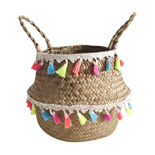 Seagrass Woven Belly Basket Decorative Tassel Handmade Organizer Home Storage Foldable with Handle for Toys Laundry Picnic Plant Pots Beach Bag