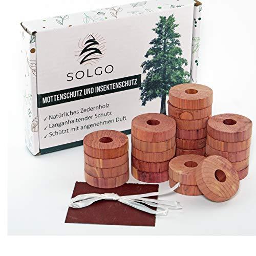 Solgo 24x natürlicher Mottenschutz und Insektenschutz | aus Premium Zedernholz | Mottenfrei im Kleiderschrank | Angenehm duftend | Langlebig und Chemiefrei | sofortiger Mottenstop | Mottenfalle