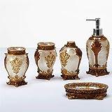 Dispensador de jabón de manos y platos Patrón tridimensional en relieve de 5 piezas, conjunto de accesorios de baño de recubrimiento de metal antiguo -Resin Productio- Dispensador de loción, soporte d