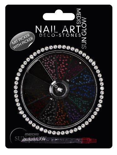 Medis Sun Glow Nail Art Déco Stones Rose, Fuchsia, Aqua, Bleu Saphir, Vert, Violet, Orange, Argent, Rouge, Marron, Noir