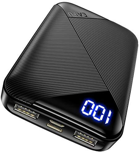EAFU Powerbank, Mini LED Display 10000mAh Hohe Kapazität Dual 3A USB Typ C Tragbares Ladegerät, Externer Akku mit Taschenlampe für iPhone XS X 8 Plus Samsung S10 Google LG iPad Airpods
