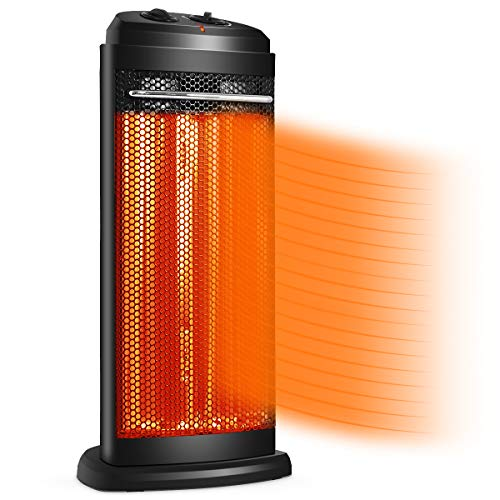 Tangkula Portable Quartz Heater, w/Automatic Thermostat, Electric Radiant Tower Space Heater (High: 1200W / Low: 600W), Overheating Protection, Anti-Rollover, Quiet Heating, Home & Office Heater Electric heaters Space
